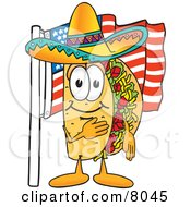 Clipart Picture Of A Taco Mascot Cartoon Character Pledging Allegiance To An American Flag by Toons4Biz