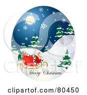 Royalty Free RF Clipart Illustration Of An Oval Scene Of Santas Sleigh With Merry Christmas Text On A Snowy Night