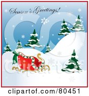 Royalty Free RF Clipart Illustration Of A Seasons Greetings Image With Santas Sleigh On A Hill With Trees