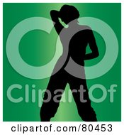Royalty Free RF Clipart Illustration Of A Black Silhouette Of A Dancing Woman Holding Her Hand Behind Her Head On Green