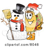Clipart Picture Of A Taco Mascot Cartoon Character With A Snowman On Christmas by Toons4Biz