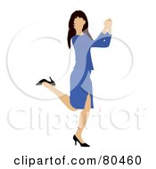 Royalty Free RF Clipart Illustration Of A Brunette Businesswoman Kicking Up Her Heels And Doing A Happy Dance by Pams Clipart