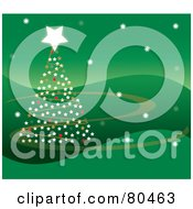 Starry Christmas Tree On A Wavy Green Background With Swooshes