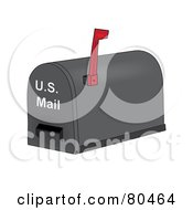 Royalty Free RF Clipart Illustration Of A Gray Mailbox With A Flag And Slot