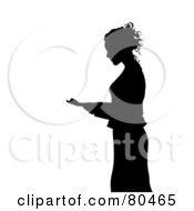 Royalty Free RF Clipart Illustration Of A Black Silhouette Of A Businesswoman Standing And Reading by Pams Clipart