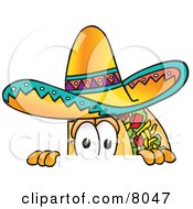 Clipart Picture Of A Taco Mascot Cartoon Character Peeking Over A Surface by Toons4Biz