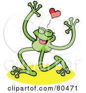 Royalty Free RF Clipart Illustration Of A Leggy Green Frog Smiling Under A Heart by Zooco