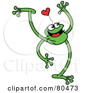 Leggy Green Frog Walking Under A Heart by Zooco