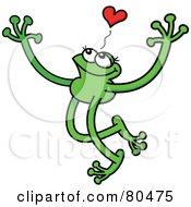 Leggy Green Frog Grinning Under A Heart