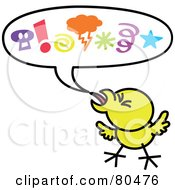 Royalty Free RF Clipart Illustration Of A Yellow Chicken With Mad Symbols In A Word Balloon