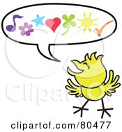 Royalty Free RF Clipart Illustration Of A Yellow Chicken With Happy Symbols In A Word Balloon by Zooco