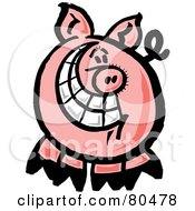 Royalty Free RF Clipart Illustration Of A Happy Swine With A Big Toothy Grin by Zooco
