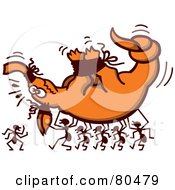 Royalty Free RF Clipart Illustration Of Ants Carrying A Tied Up Aardvark by Zooco