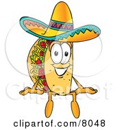 Clipart Picture Of A Taco Mascot Cartoon Character Sitting