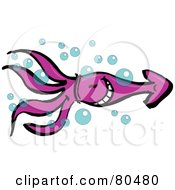 Royalty Free RF Clipart Illustration Of A Happy Purple Squid Swimming Through Bubbles