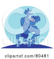 Royalty Free RF Clipart Illustration Of A Grinning Strong Wolfman Atop A Hill Against A Blue Moon