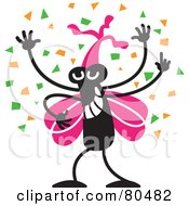 Royalty Free RF Clipart Illustration Of A Happy Black Bug With Pink Wings Wearing A Party Hat And Dancing In Confetti by Zooco