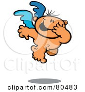 Giggling Nude Cupid With Blue Wings