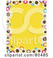Royalty Free RF Clipart Illustration Of A Yellow Background Bordered In Daisy Flowers And A Bee by Maria Bell