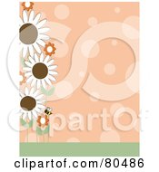Royalty Free RF Clipart Illustration Of An Orange Polka Dot Background With A Left Border Of A Bee And Flowers by Maria Bell