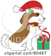 Royalty Free RF Clipart Illustration Of A Christmas Cavalier King Charles Spaniel Opening A Present