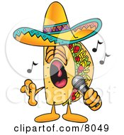 Taco Mascot Cartoon Character Singing Loud Into A Microphone