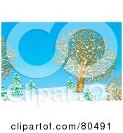 Royalty Free RF Clipart Illustration Of A Blue Winter Day With Bare Trees In The Snow