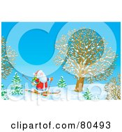 Royalty Free RF Clipart Illustration Of Santa Skiing By A Tree In Winter