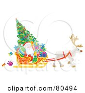 Royalty Free RF Clipart Illustration Of A Reindeer Pulling A Christmas Tree Gifts And Santa In A Sleigh