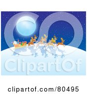 Royalty Free RF Clipart Illustration Of Santas Reindeer Pulling His Sleigh Under A Full Moon