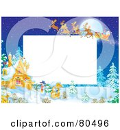 Royalty Free RF Clipart Illustration Of A Team Of Magic Reindeer Flying Santa Over A Winter Cottage During The Night With Copyspace