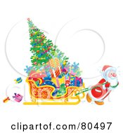 Royalty Free RF Clipart Illustration Of Santa Pulling A Christmas Tree And Gifts In A Sleigh