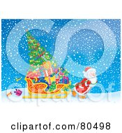 Royalty Free RF Clipart Illustration Of Santa Pulling His Sleigh With Presents And A Tree Through The Snow
