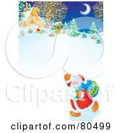 Royalty Free RF Clipart Illustration Of Santa Waving And Walking Near A Winter Cottage
