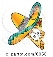 Clipart Picture Of A Taco Mascot Cartoon Character Peeking Around A Corner by Toons4Biz