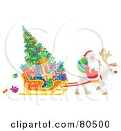 Royalty Free RF Clipart Illustration Of Santa Riding On A Reindeer Pulling A Christmas Tree And Gifts In A Sleigh
