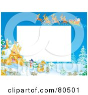 Royalty Free RF Clipart Illustration Of A Team Of Magic Reindeer Flying Santa Over A Winter Cottage During The Day With Copyspace