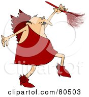 Cupid In Red Using A Feather Duster