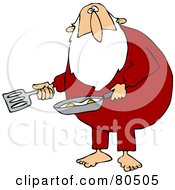 Royalty Free RF Clipart Illustration Of A Chubby Santa Cooking Eggs In His Pajamas