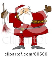 Royalty Free RF Clipart Illustration Of A Chubby Santa Holding A Feather Duster