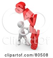 Royalty Free RF Clipart Illustration Of A 3d Computer Generated White Man Holding Pushing Savings