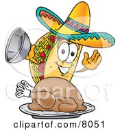 Clipart Picture Of A Taco Mascot Cartoon Character Serving A Thanksgiving Turkey On A Platter