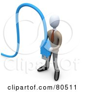 Royalty Free RF Clipart Illustration Of A 3d Computer Generated Orange Business Man Holding Two Blue Computer Cables by 3poD