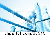 Royalty Free RF Clipart Illustration Of A Futuristic City Skyline With Skyscrapers And Floating Roads In Blue Tones