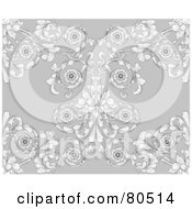 Royalty Free RF Clipart Illustration Of A Gray Victorian Floral Styled Seamless Background