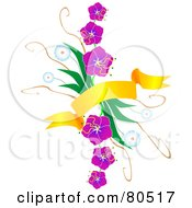 Royalty Free RF Clipart Illustration Of A Golden Banner Over A Bundle Of Purple And Blue Flowers by tdoes