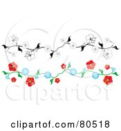 Royalty Free RF Clipart Illustration Of A Digital Collage Of Floral Borders Black And White And Red And Blue by tdoes