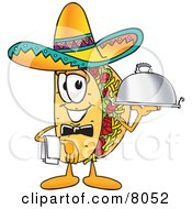 Clipart Picture Of A Taco Mascot Cartoon Character Dressed As A Waiter And Holding A Serving Platter by Toons4Biz