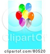 Royalty Free RF Clipart Illustration Of A Rising Group Of Colorful Balloons On Blue by tdoes
