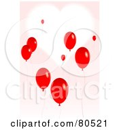 White Heart On A Pink Background With Rising Red Balloons
